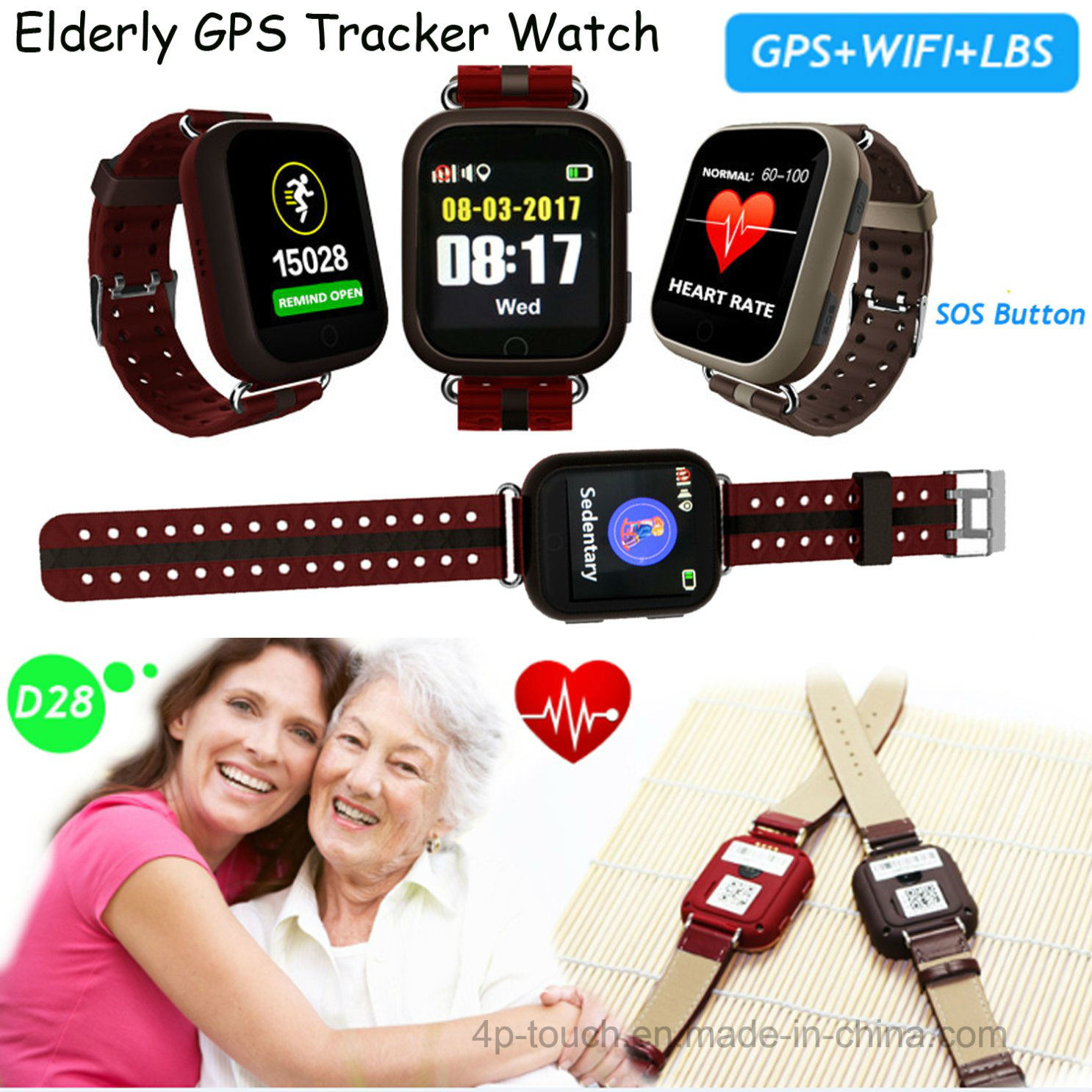 [Hot Item] 2018 Hot Sell Smart Watch with Heart Rate Monitor (D28)