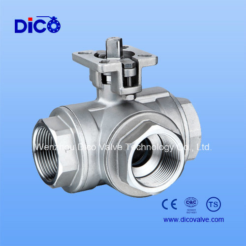 China BSPP/Bsp Thread End 3 Way Ball Valve with New Mounting Pad