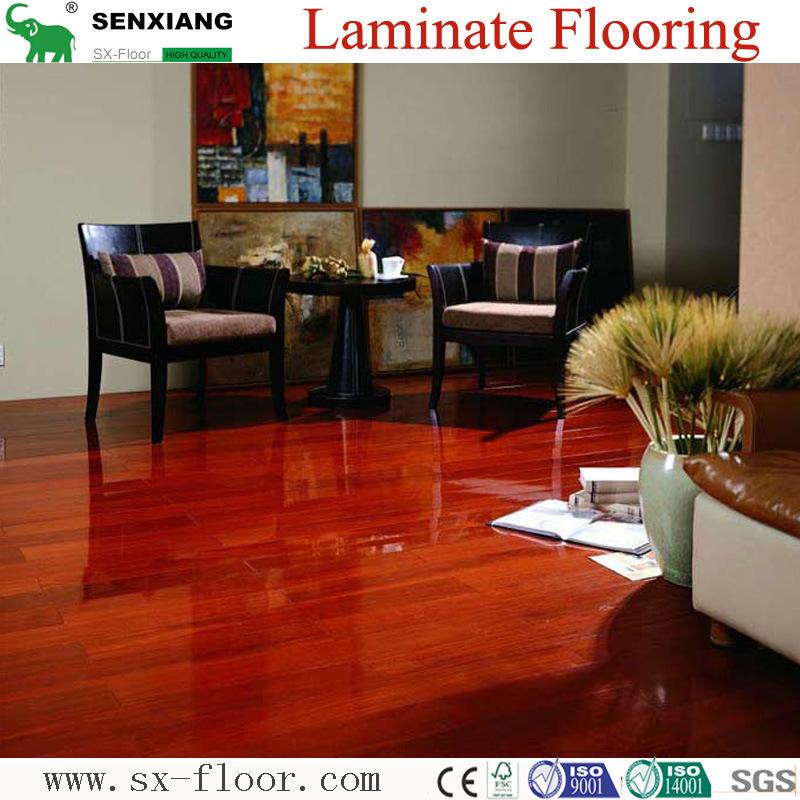 China Red Sandalwood Class31 Ac3 High Gloss Laminate Flooring Laminated