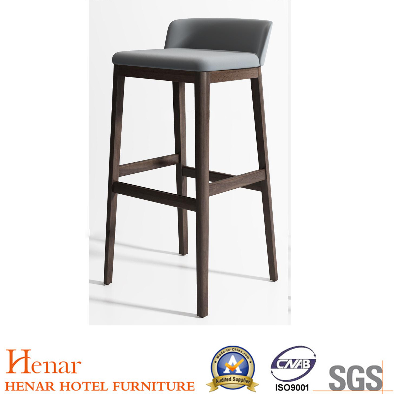 [Hot Item] Contemporary Indoor Pub Height Wooden Legs Bar Stools with Low  Back