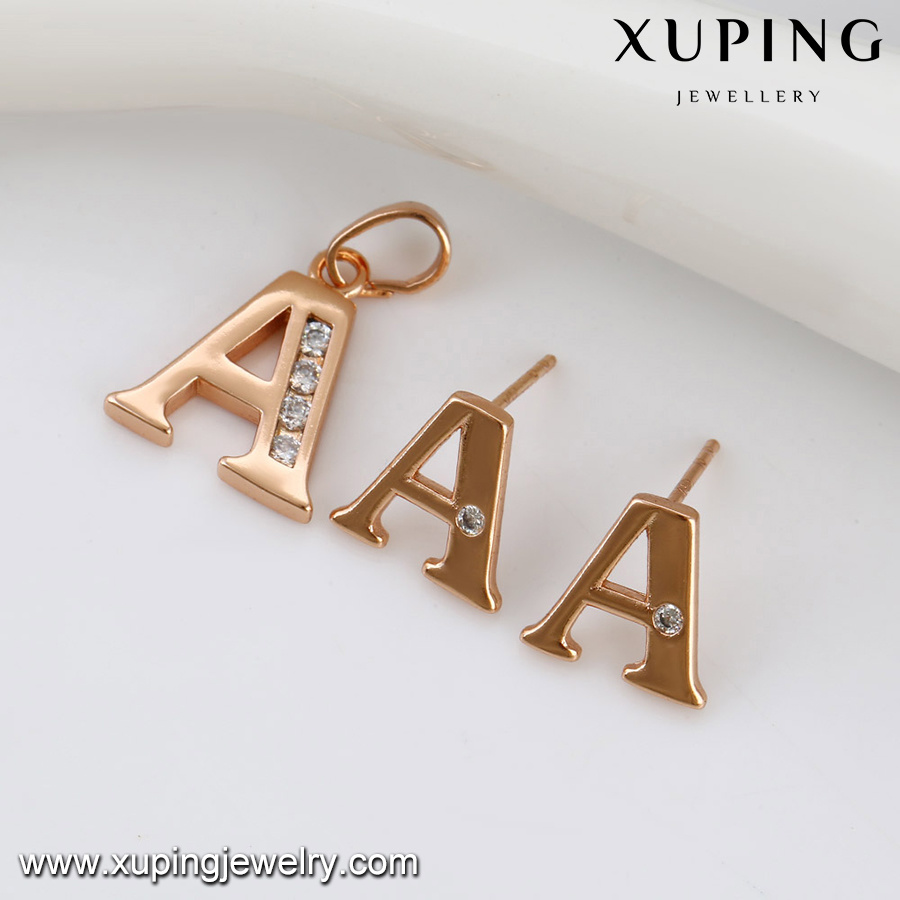 China 63996 Fashion Rose Gold Plated Jewelry Set with Letter a