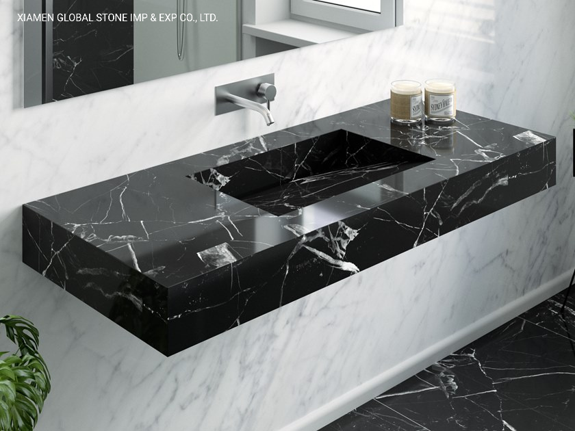 China Natural Stone Black Nero Marquina, Marble Bathroom Countertop