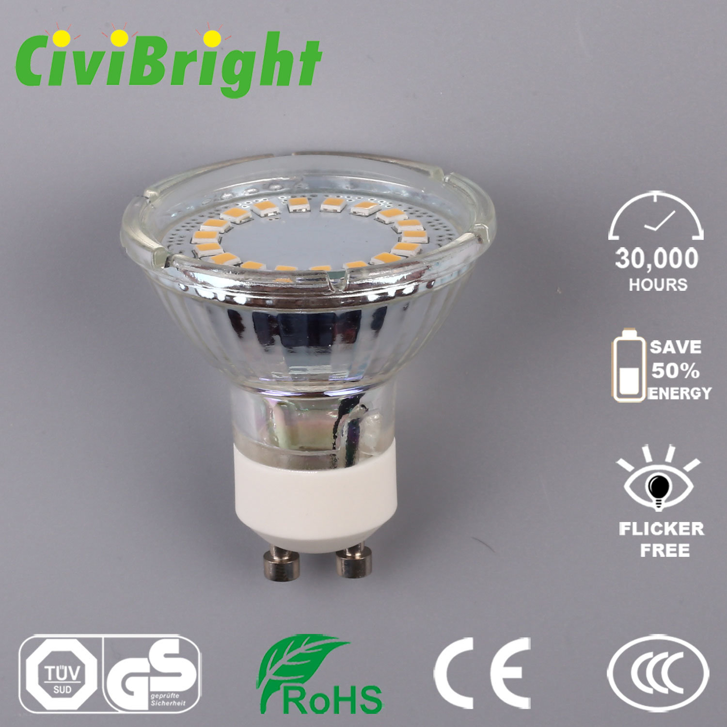 5W GU10 LED Bulb Dimmable Glass Shell LED Lamp Spotlight