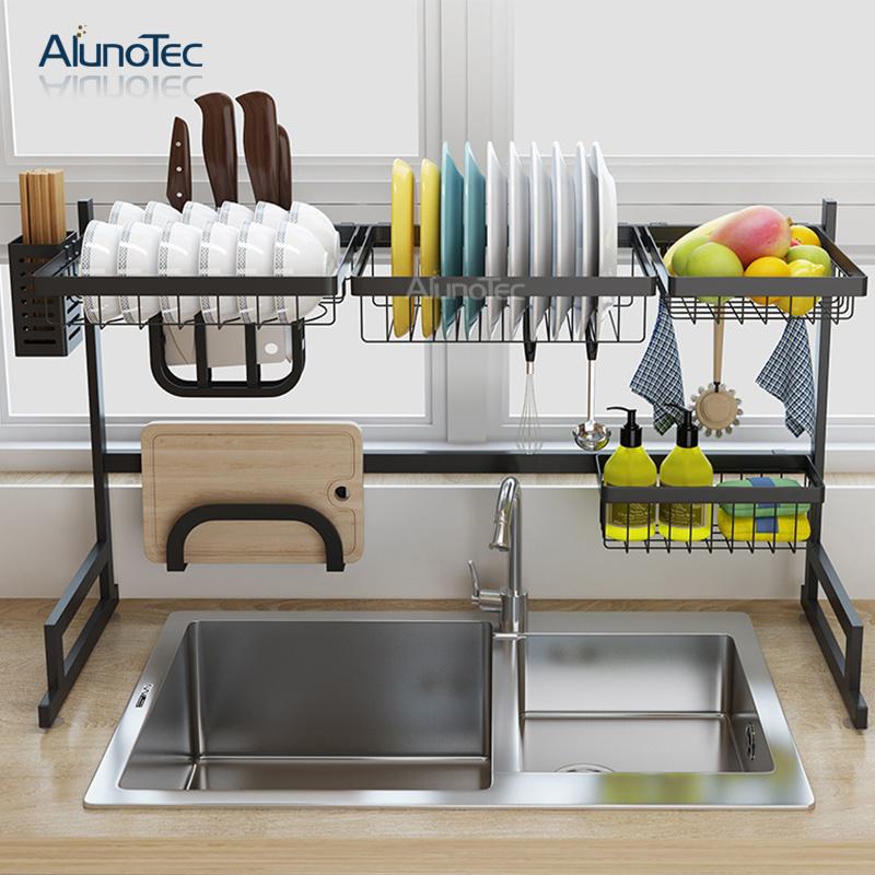 Kitchen Space Saving Utensil Holder Grocery Shelf Dish Drying Rack Over Sink
