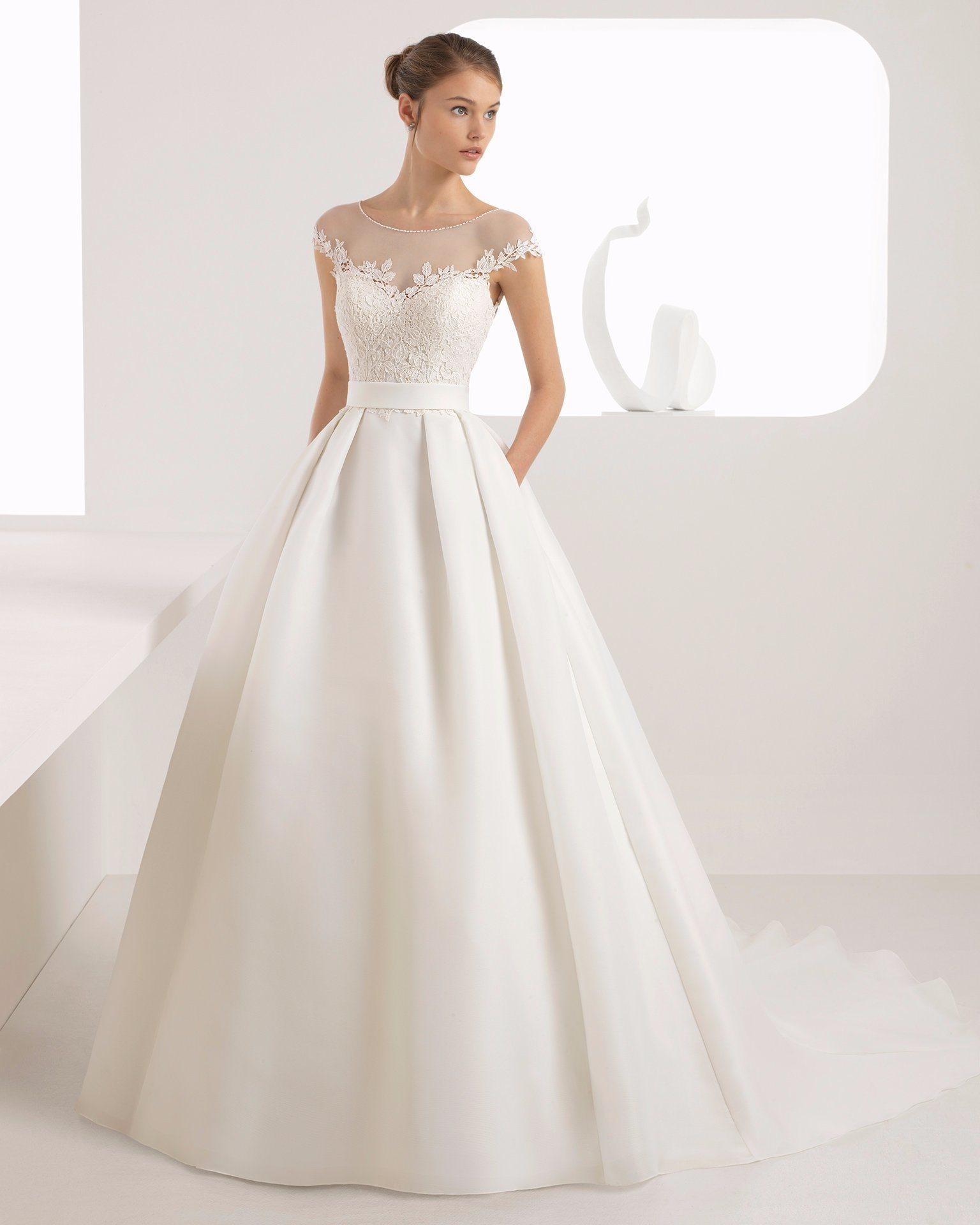 China Sheer Lace Top Organza Skirt With Pocket Bridal Dress