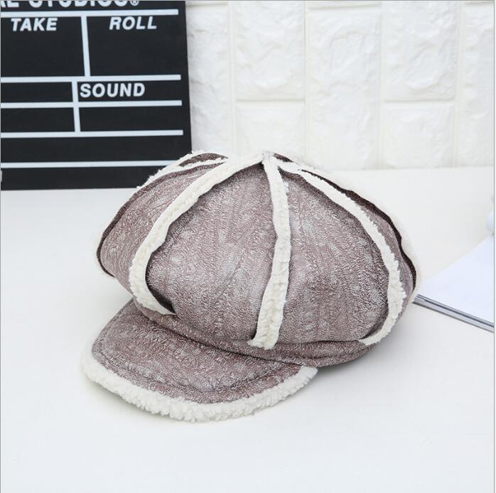 eefa2514c China Warm Winter Vintage Beret Suede Lamb Stitching Ladies Hats ...