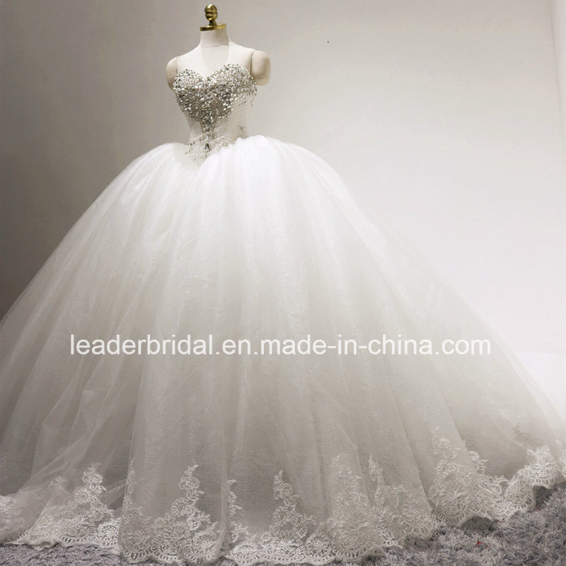 China Cathedral Bridal Ball Gowns Lace Tulle Puffy Glitter Wedding ...