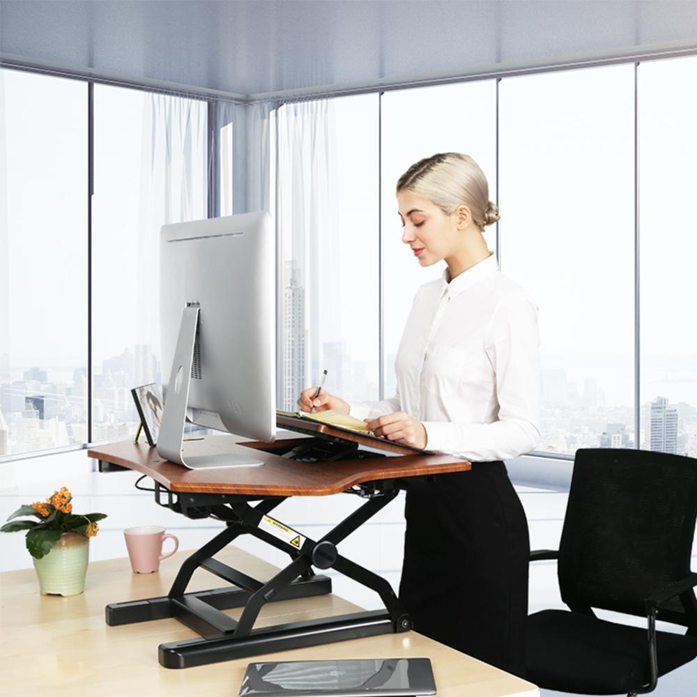 China Loctek New Corner Desk Risers Converters Aluminum Laptop Sit Stand Workstation Height Adjule