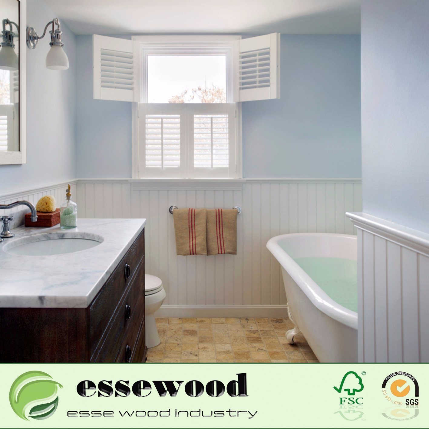 Home Decor Bathroom Waterproof PVC Plantation Shutter Window Decoration