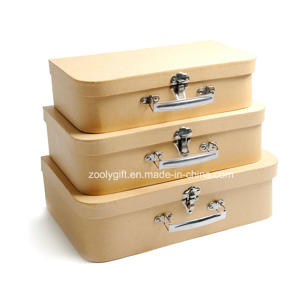 China Set Of 3 Recycle Kraft Paper Suitcase Storage Box   China Cardboard Suitcase  Box, Suitcase Box