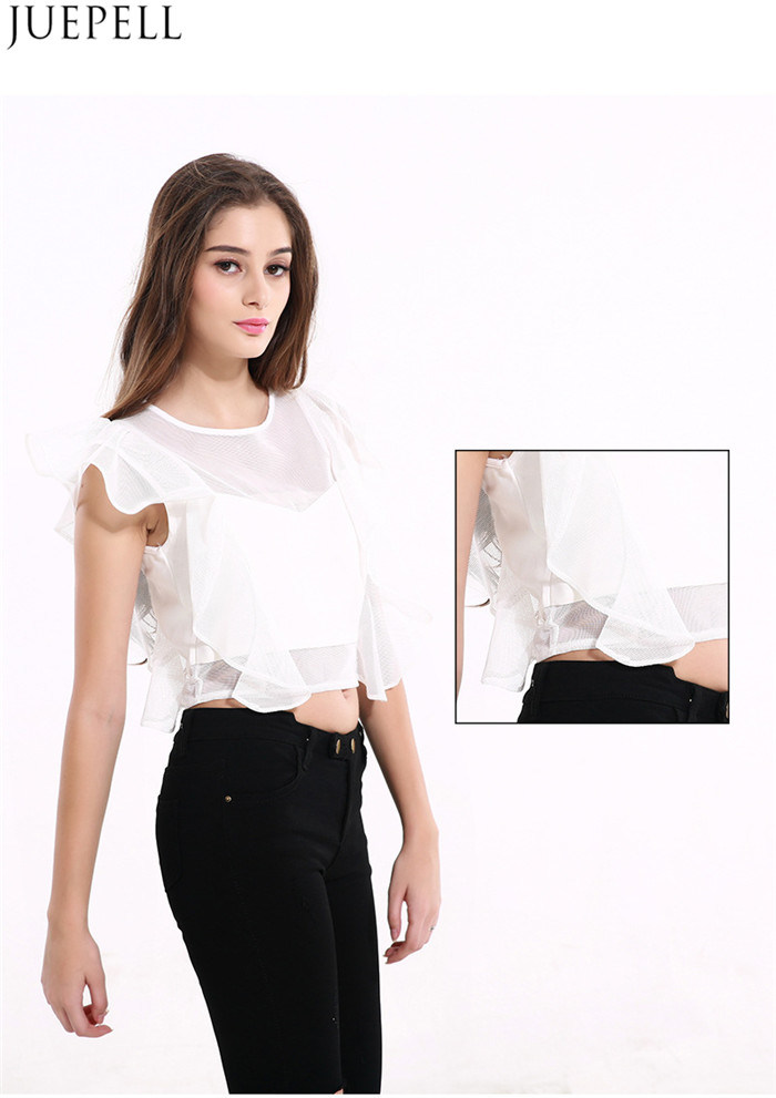 Summer New Temperament Ladies Flounced Net Yarn Splicing Sleeveless Short Women Shirt Blouse Factory OEM in Guangzhou
