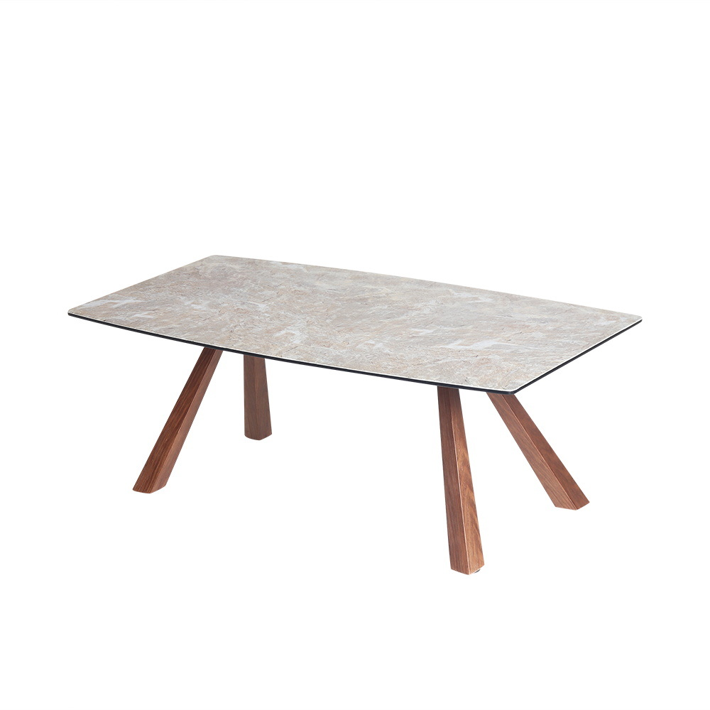 China Living Room Furniture Oval Shape Side Table Solid Wood Leg Coffee Table China Coffeetable Modern Furniture