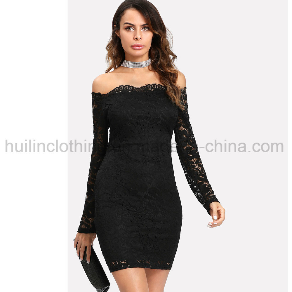 Hot Item Women Off Shoulder Long Sleeves Bodycon Lace Dress