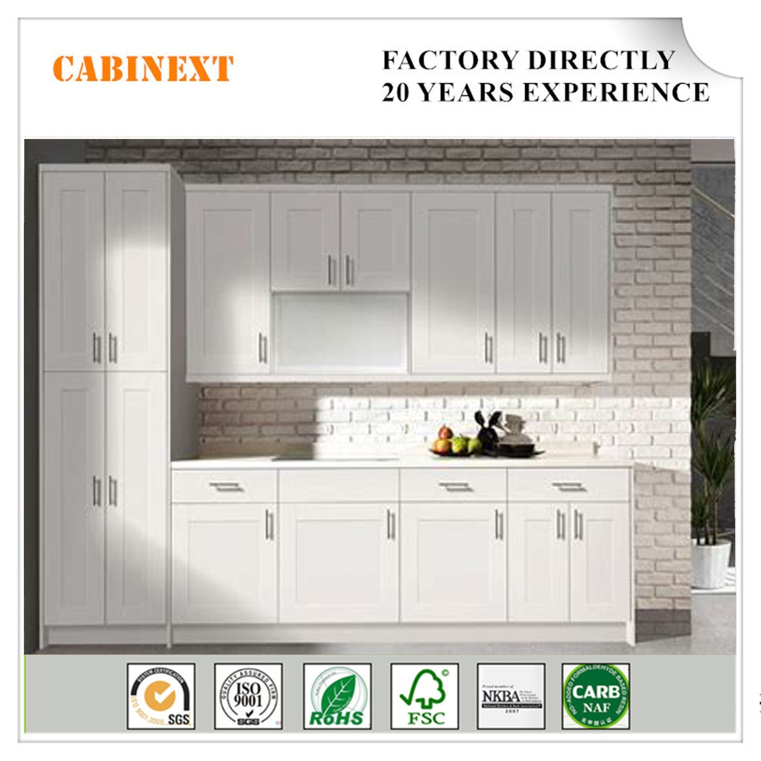 European High End Solid Wood Kitchen Cabinets Made In China For