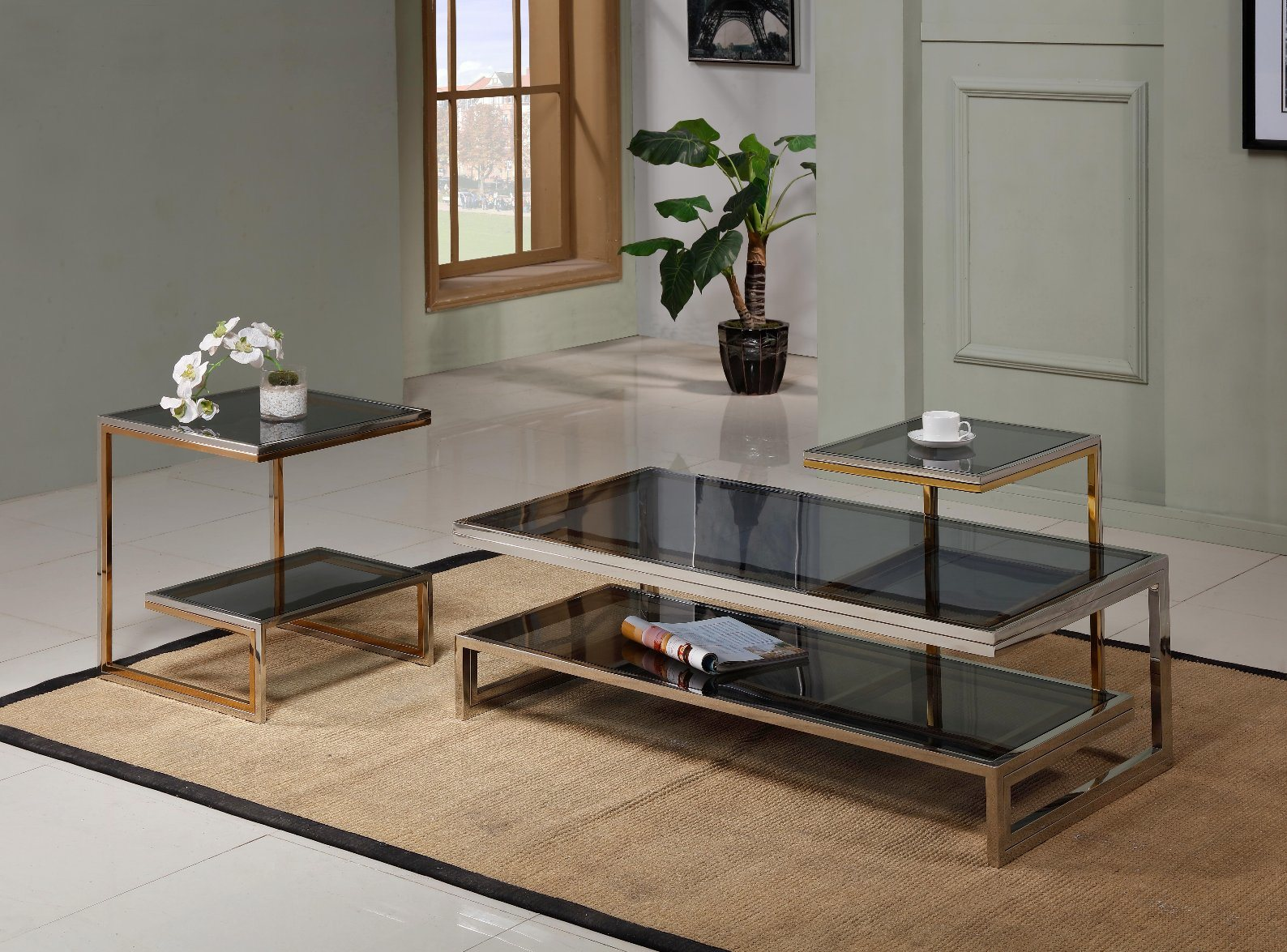 - China Modern Glass Coffee Table Set Stainless Steel Living Room