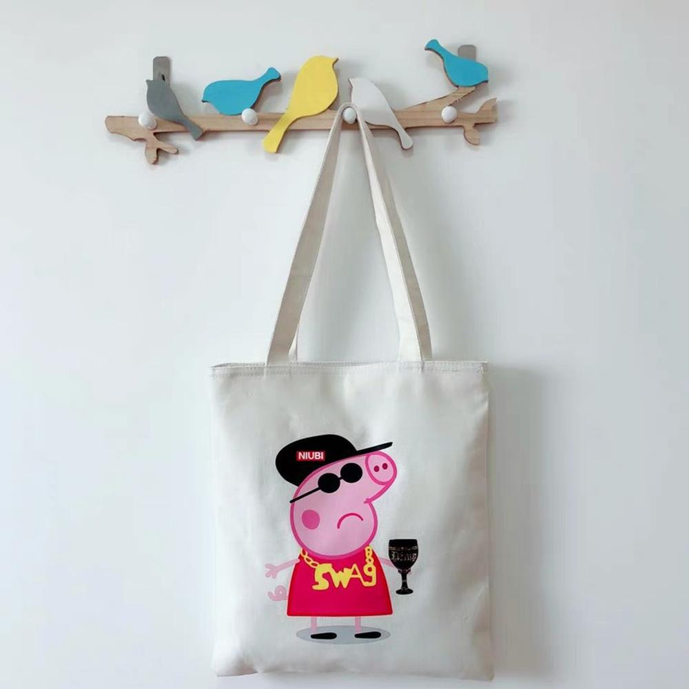 China Multifunction Fashion Recycle Canvas Ladies Handbag Cotton Shopping Tote Bag With Print Cartoon Drawing China Cotton Bag And Canvas Bag Price
