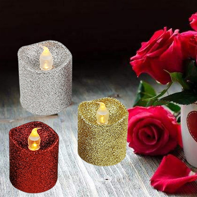 China Battery Operated Candles Bright Led Flameless Flickering Glitter Tea Lights China Lighting Led Light