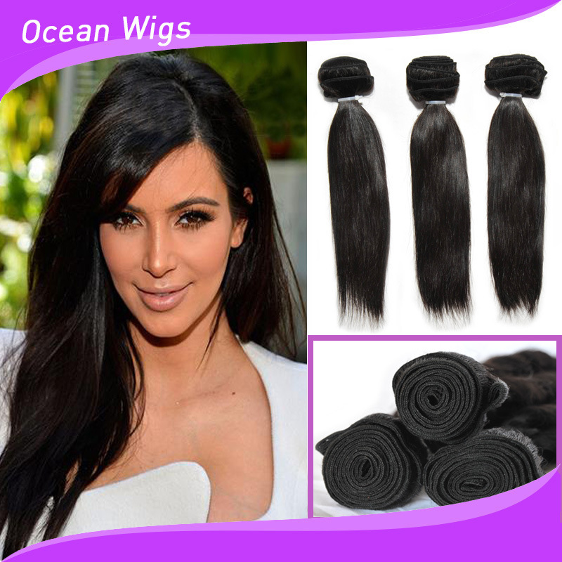 China Black Girl Hair Extensions 16 Inches Straight Indian Remy Hair