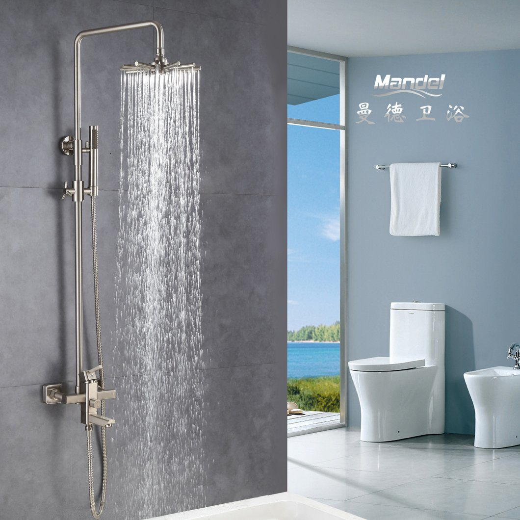 Hot Item Bathroom Brass Shower Faucet With Slide Bar Hand Shower And Rainfall Shower Head Double Function Ti Gold