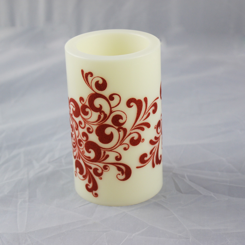 Flameless Battery Operated Printing Decorative Plstic LED Candle with Timer Function