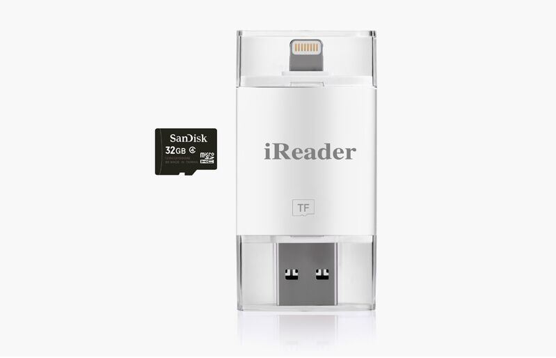 Plastic 2 in 1 Bidirectional TF Card Reader for Ios System Device Support Fat32 and Exfat Format
