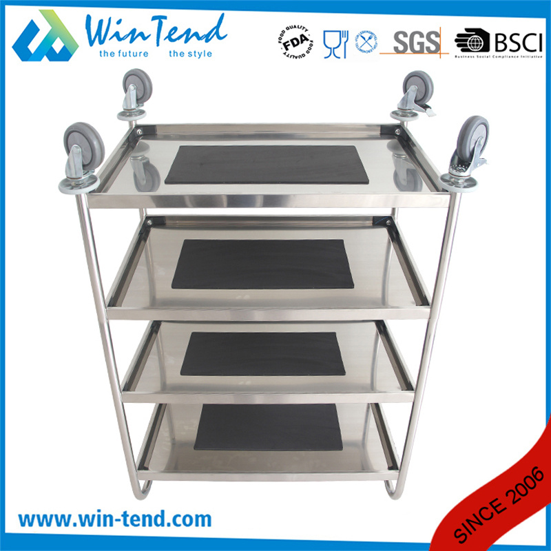 Round Tube 4 Tier Design Stainless Steel Types of Food Service Trolley with Good Prices for Home pictures & photos
