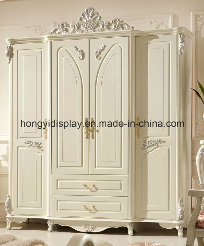 China White Antique French European Style 3 Door Carved Wooden Wedding Bedroom Furniture Clothes Cabinet China Wardrobe Home Furniture