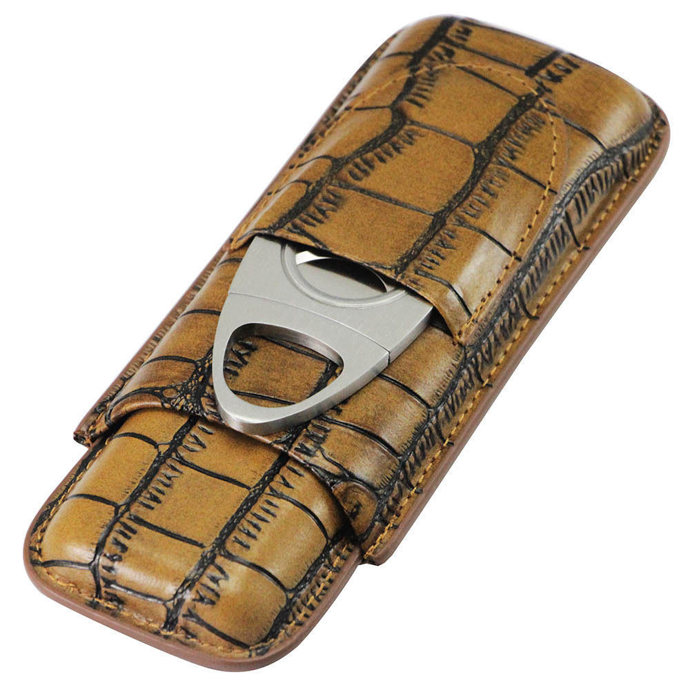 Cohiba Genuine Leather Brown 2 Tube Cigar Case Cutter (ES-EB-108)