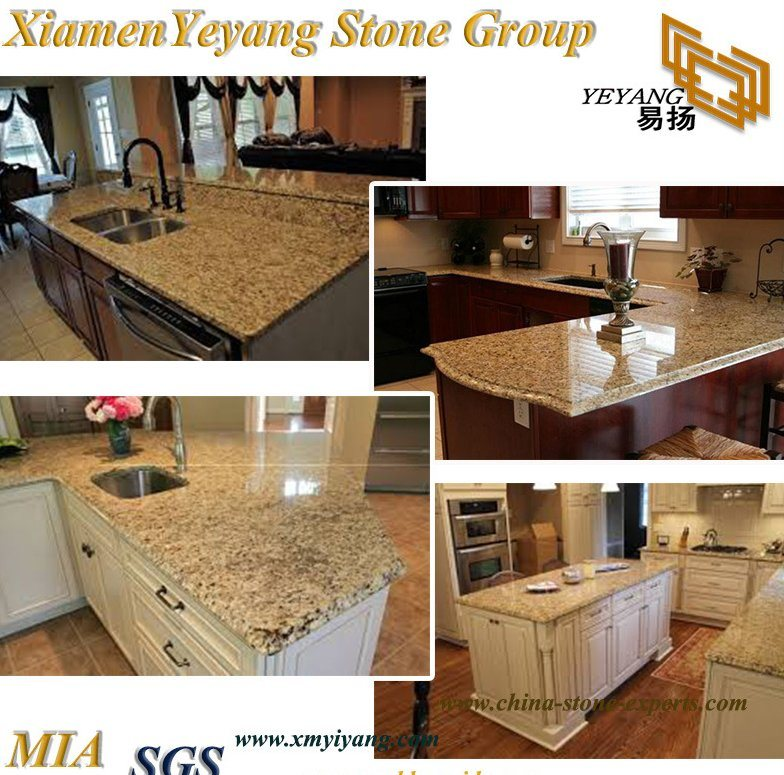 China Gold Yellow Beige Granite Stone Tiles Countertop Vanity Tops For Kitchen Islands China Granite Slab Kitchen Countertop