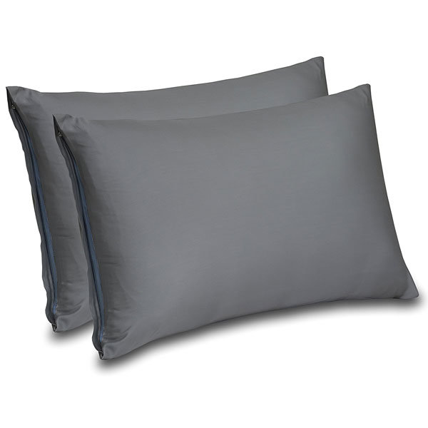 300 Thread Count Cotton Sateen Zippered Pillow Cases for Maximum Softness, Elegant Double Hemmed Stitched Pillow Encasement