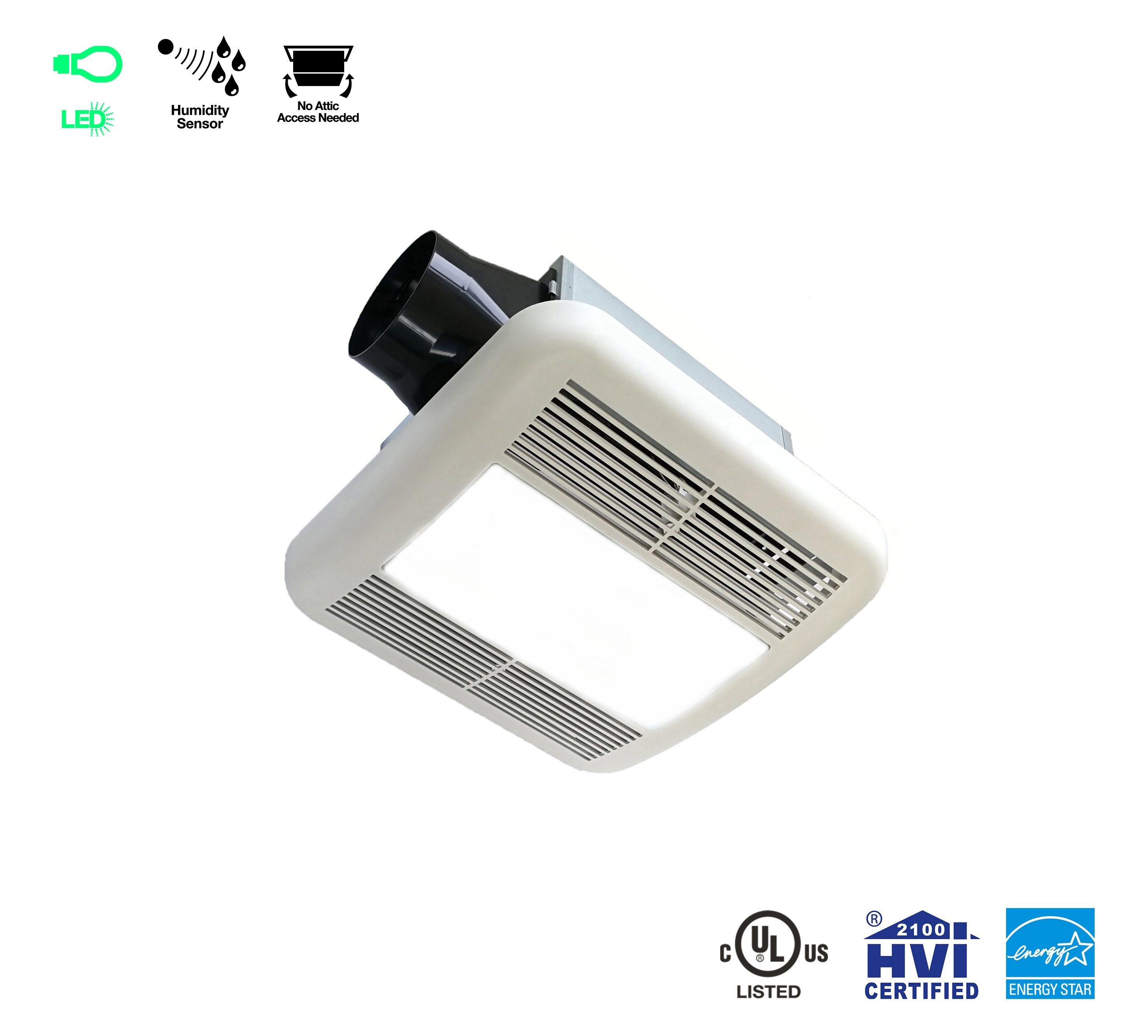 China UL Lighting Bath Fan 20cfm 20.20 Sones Humidity Sensing Super ...