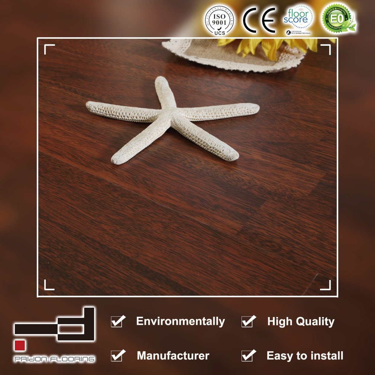 China 8mm Light Brown Oak Embossed Finish Laminate Flooring Laminated