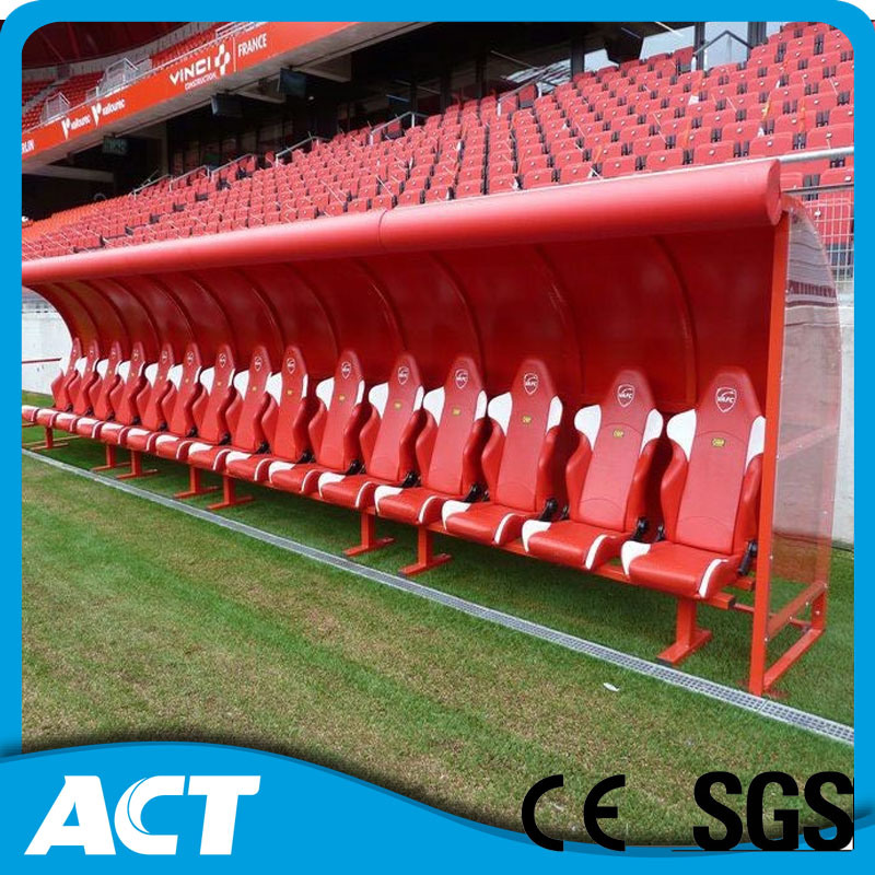 China Outdoor Mobile Soccer Baseball Dugout Bench With Leather Seat
