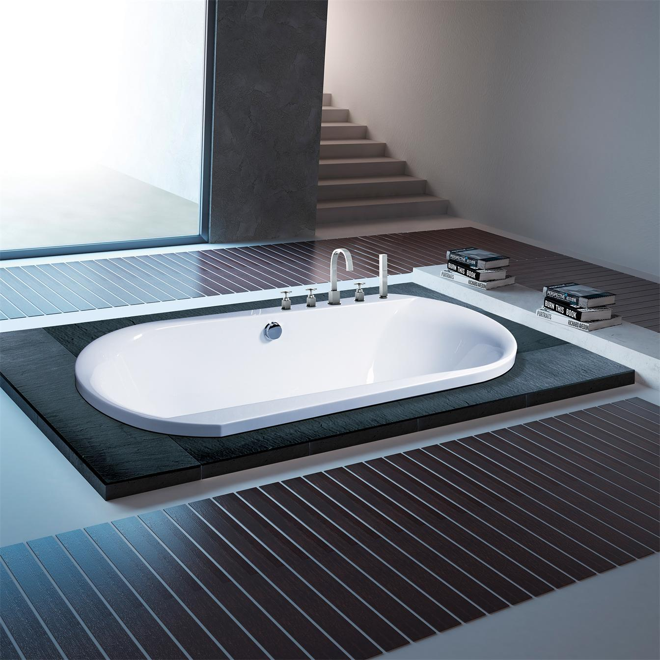 China Double Person White Oval Simple Drop-in Bath Tub B-638 - China ...
