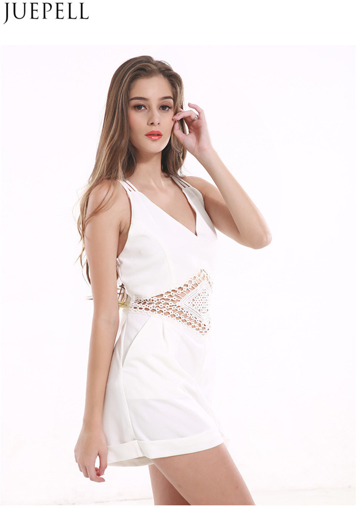 Summer Explosion Models in Europe and America Sexy V-Neck Sleeveless Halter Women Jumpsuit Shorts Solid Color Stitching Hollow