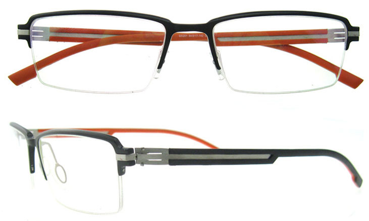 China Italian Design Halfrim German Aluminum Eyeglasses Frame for ...