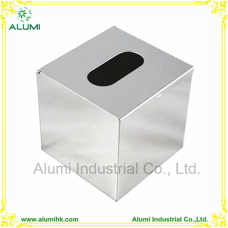 China Square Mirror Polished Or Brushed Stainless Steel Kitchen Tissue Box Holder