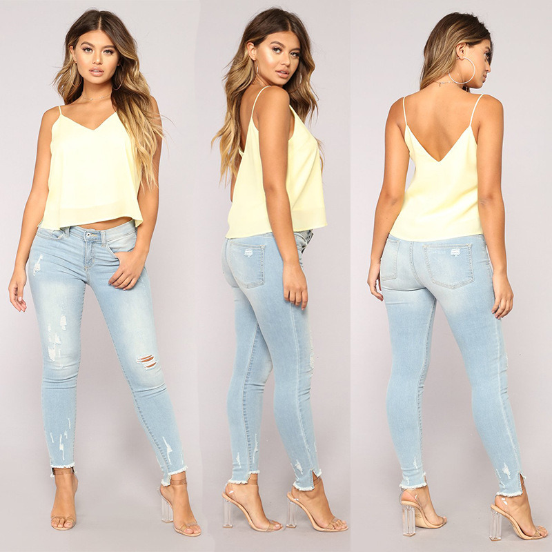 5e2a97b95b China in Stock Plus Size Medium Waist Light Blue Ripped Frayed Jeans Women  - China Jeans