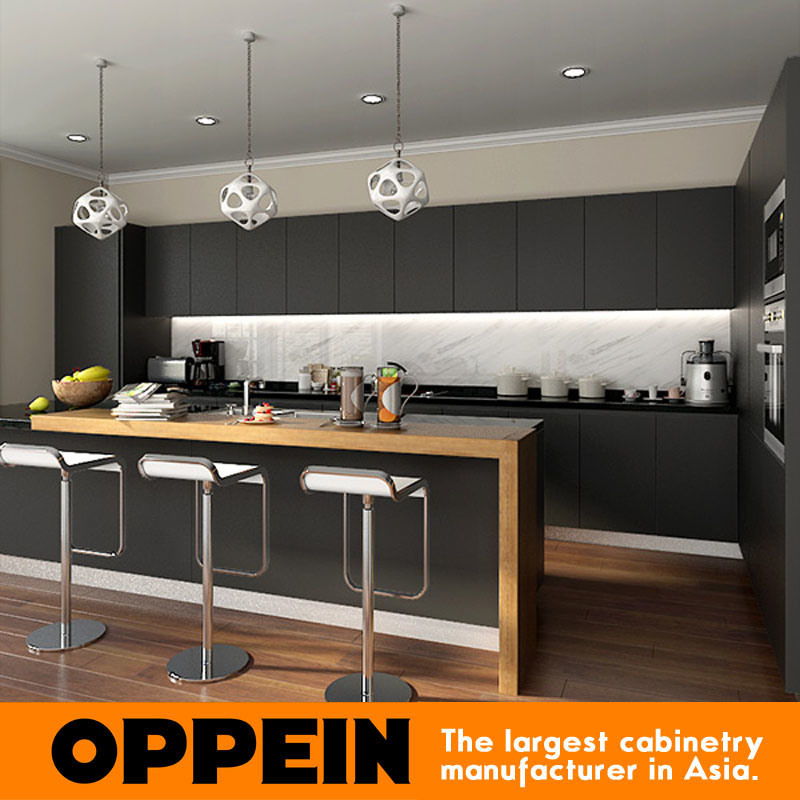 Hot Item Wholesale Modern Stylish Black Matte Lacquer Wooden Kitchen Cabinet Op16 L14