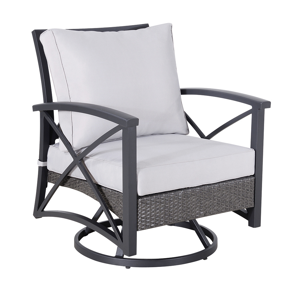China Garden Swivel Chair with Aluminium Base and Weaving Outdoor