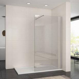 Hot Item Diy Style Black Walk In Shower Enclosure Wet Room Shower Door Screen Panel 8mm Easy Clean Glass With Support Bar