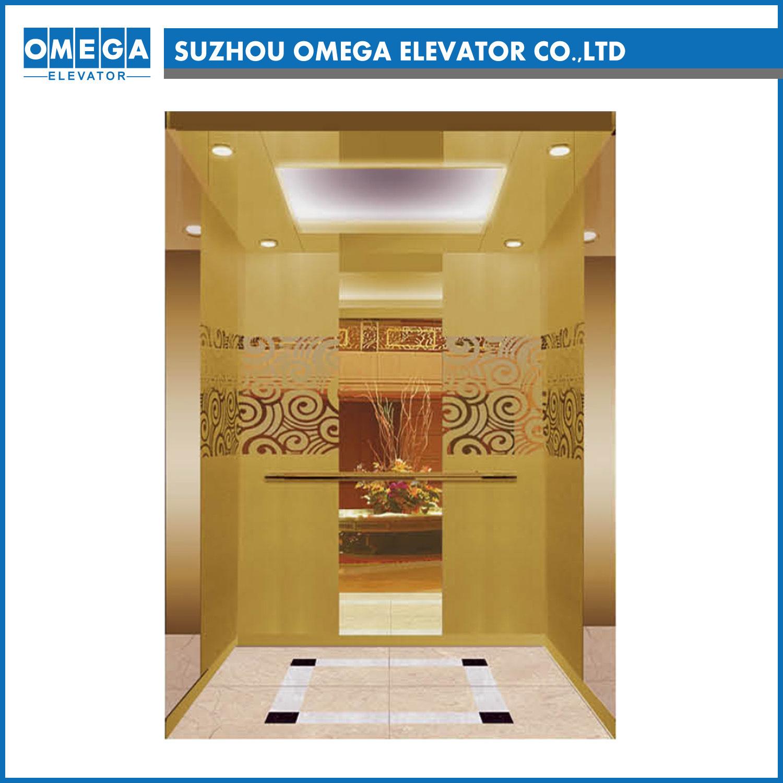[Hot Item] Otis Kone Mitsubishi Lift Gold Mirror Gear Gearless Passenger  Elevator with Japan