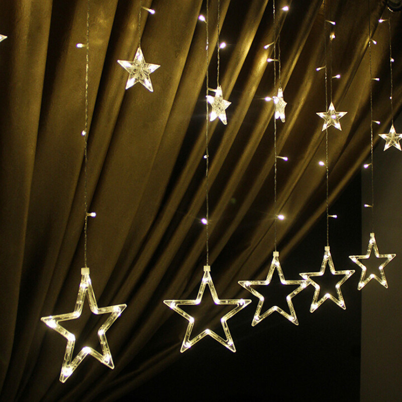 China Christmas Decorative Lighting Fairy Star Led Light Curtain String For Holiday Wedding Garland Party Rose Flower
