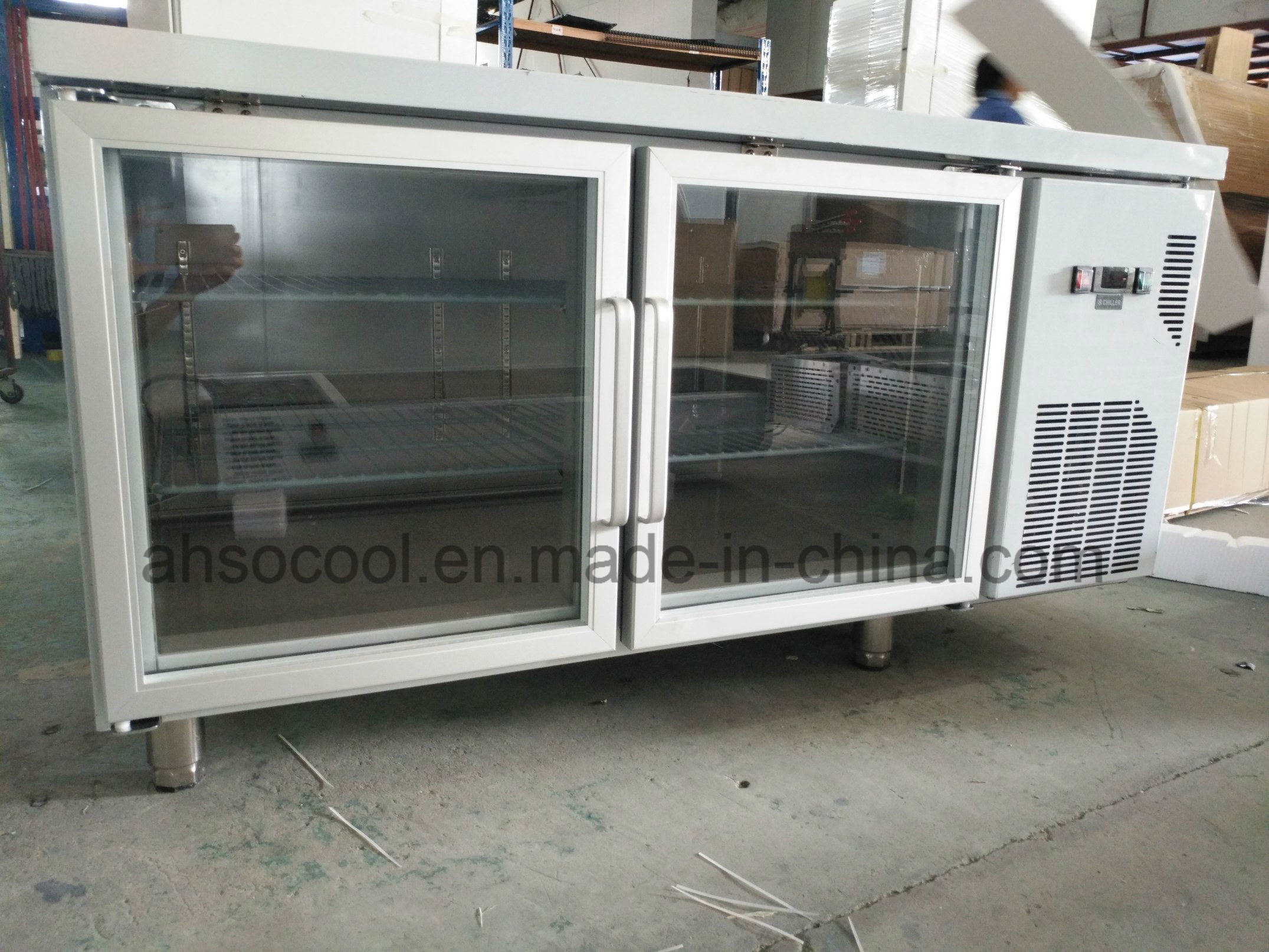 Glass Door Kitchen Counter Refrigerator Sus304 Body And Embraco Compressor