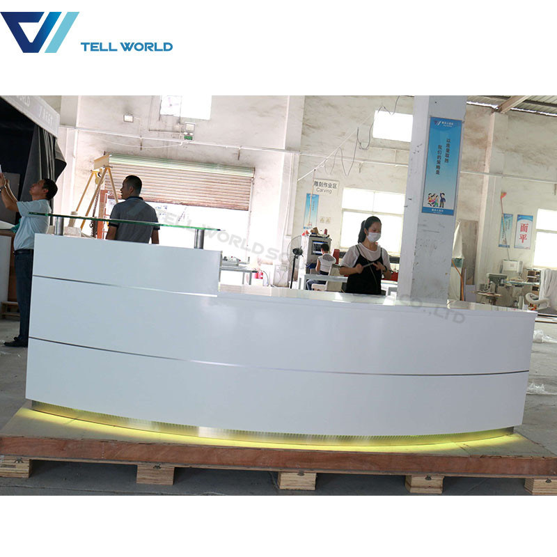 china wholesale led front office counter design luxury corian round
