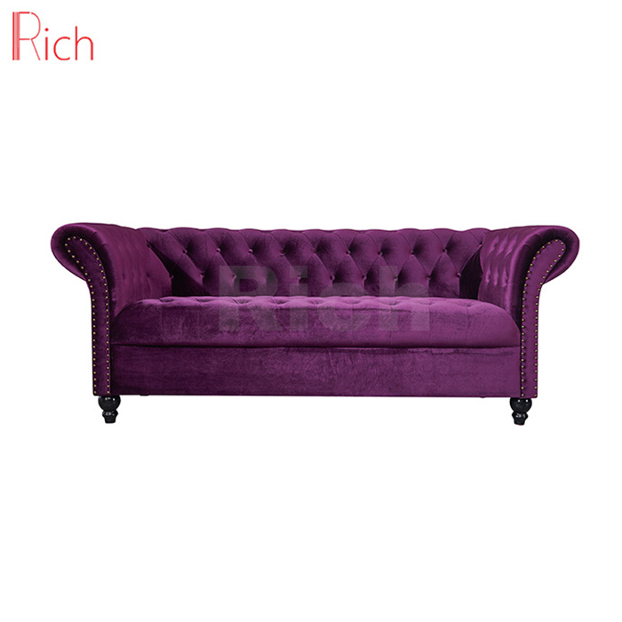 China Modern Home Furniture Luxurious Violet Velvet Chesterfield ...