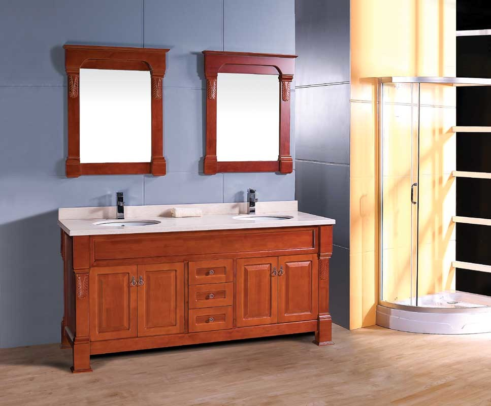 China Double Ceramic Basin Antique Solid Wooden Bathroom Vanity With Double Mirror China Bathroom Cabinet Kitchen Cabinet