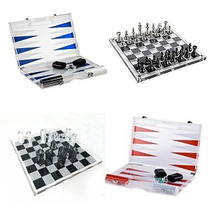 [Hot Item] Wholesale Patented 18′′ 16′′ 14′′ Acrylic Backgammon Board Games  & Lucite Chess Board Game Set