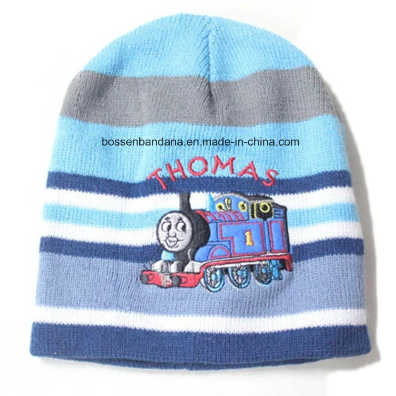 fadd9342 Custom Made Cartoon Printed Children Warm Winter Striped Acrylic Knitted  Embroidered Beanie Cap