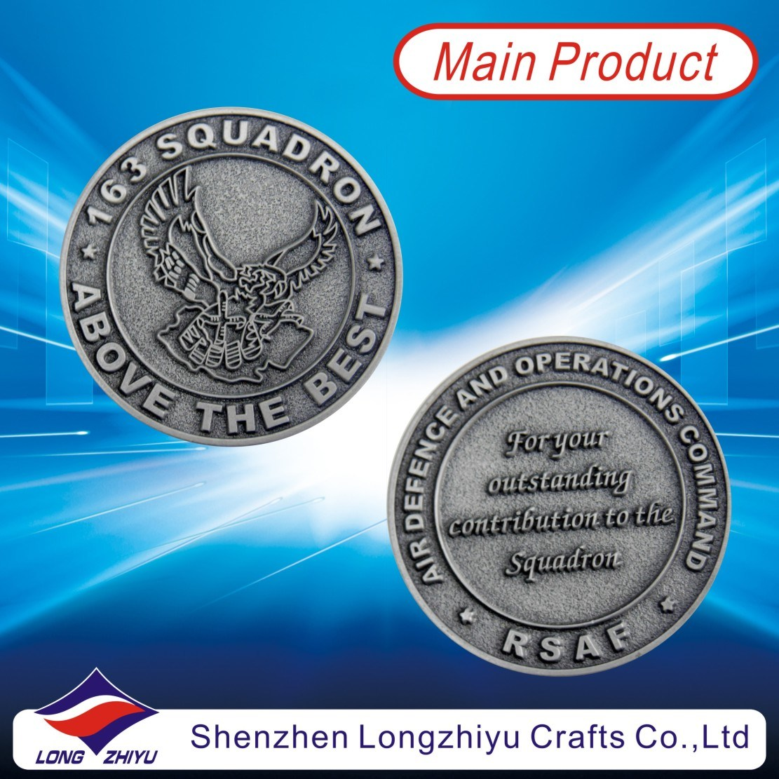 [Hot Item] Metal Antique Silver Custom Coins Supplier/Military Challenge  Coins Medal/Souvenir Replica Coin